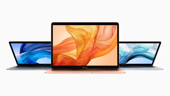 スペースグレイ、ゴールド、シルバーの3つの仕上げから選べるMacBook Air。