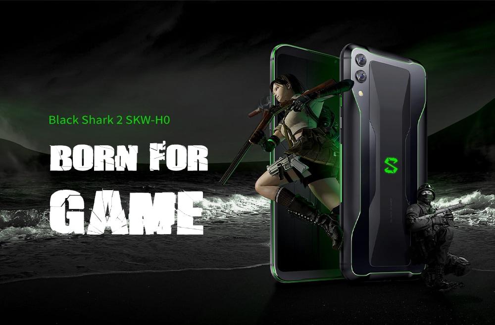 BLACK SHARK 2 SKW - H0 6.39インチPhablet / Android 9.0 OS / Qualcomm Snapdragon 855 CPU / 12GB RAM 256GB ROM / 48.0MP + 12.0MPカメラ/グローバルバージョン - ブラック